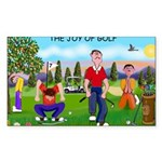 CUP-Cartoon Golfers-letters Sticker (Rectangle