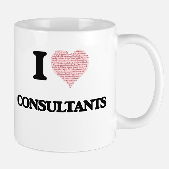 I love Consultants (Heart made from words) Mugs