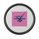 I GOLF-pink Large Wall Clock