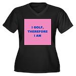 I GOLF-pink Women's Plus Size V-Neck Dark T-Sh