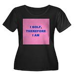 I GOLF-pink Women's Plus Size Scoop Neck Dark