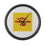 I GOLF-yellow-redletters Large Wall Clock