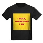 I GOLF-yellow-redletters Kids Dark T-Shirt
