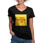 I GOLF-yellow-redletters Women's V-Neck Dark T