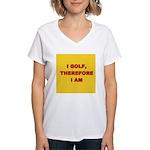 I GOLF-yellow-redletters Women's V-Neck T-Shir