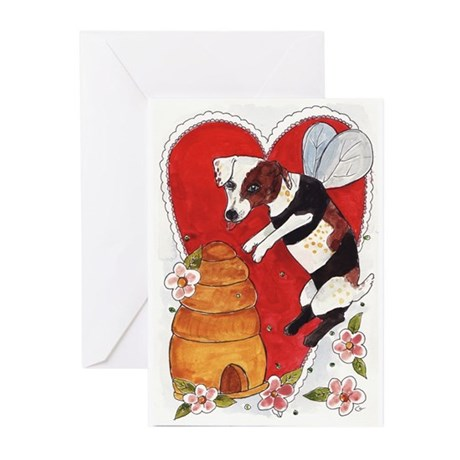 Jack Russell Terrier Bee-Dog Greeting Cards (Pk o