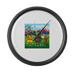 TILE-GolfingFROGS2 Large Wall Clock