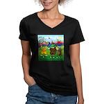 TILE-GolfingFROGS2 Women's V-Neck Dark T-Shirt
