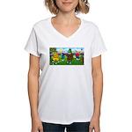 TILE-GolfingFROGS2 Women's V-Neck T-Shirt