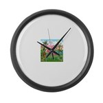 PILLOW-GolfingFLAMINGO2 Large Wall Clock