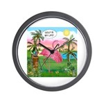 PILLOW-GolfingFLAMINGO2 Wall Clock