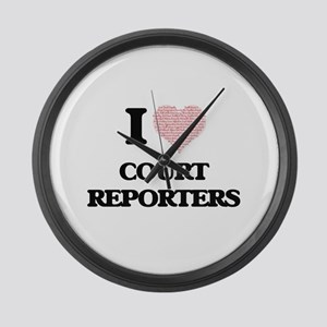 I love Court Reporters (Heart mad Large Wall Clock