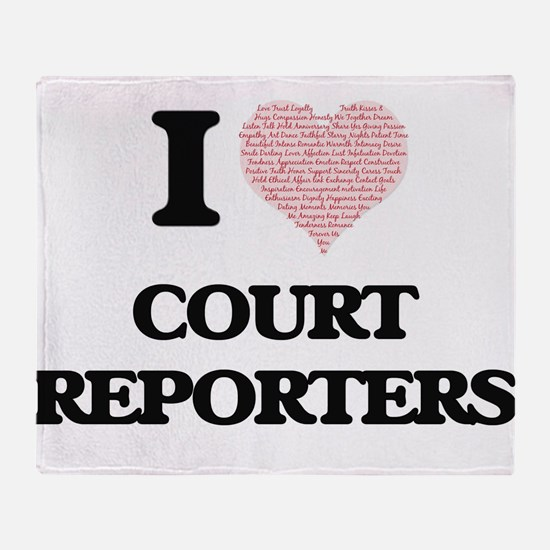 I love Court Reporters (Heart made f Throw Blanket