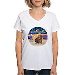 R-XmasStar-GuineaPig3 Women's V-Neck T-Shirt