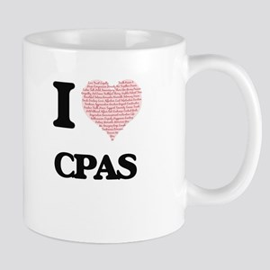 I love Cpas (Heart made from words) Mugs
