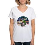 R-XmasMagic-GuineaPig2 Women's V-Neck T-Shirt