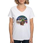 R-XmasMagic-GuineaPig3 Women's V-Neck T-Shirt