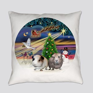 R-XmasMagic-Two Guinea Pigs Everyday Pillow