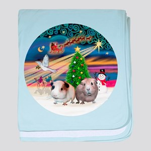R-XmasMagic-Two Guinea Pigs.png baby blanket