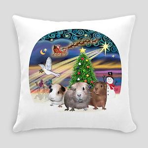 R-XmasMagic-3GuineaPigs Everyday Pillow