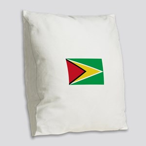 Guyana Flag Burlap Throw Pillow