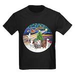 R-XmasMagic-3GuineaPigs Kids Dark T-Shirt