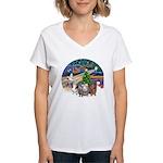 R-XmasMagic-3GuineaPigs Women's V-Neck T-Shirt