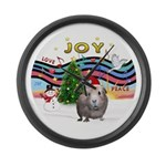 R-XmasMusic1-GuineaPig2-HAT Large Wall Clock