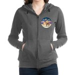 R-XmasStar-ShetlandPony Women's Zip Hoodie