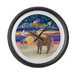 R-XmasStar-ShetlandPony Large Wall Clock