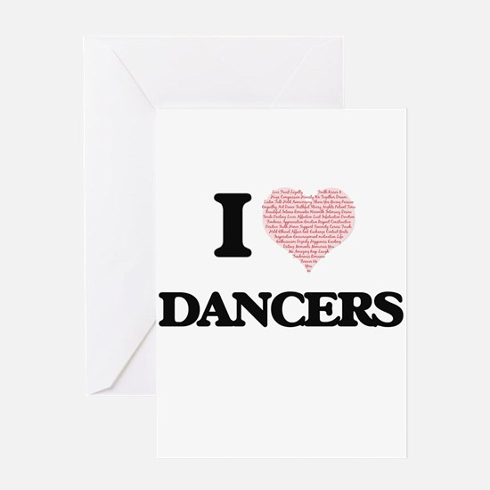 I love Dancers (Heart made from wor Greeting Cards