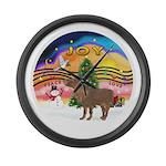 R-XmasMusic2-ShetlandPony Large Wall Clock