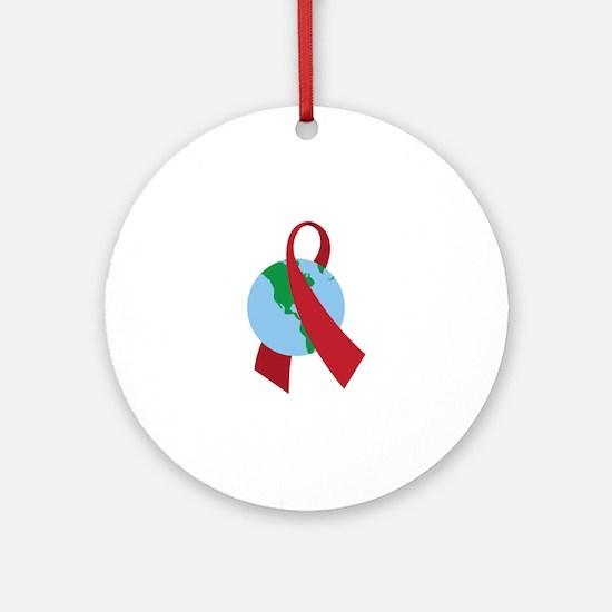World AIDS Ribbon Round Ornament