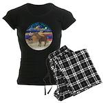 R-XmasStar-ShetlandPony Women's Dark Pajamas