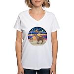 R-XmasStar-ShetlandPony Women's V-Neck T-Shirt
