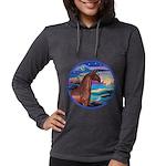 Rocks-Sea-Horse (Ar-brown) Womens Hooded Shirt