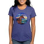 Rocks-Sea-Horse (Ar-brown) Womens Tri-blend T-