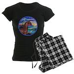 Rocks-Sea-Horse (Ar-brown) Women's Dark Pajama