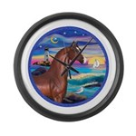 Rocks-Sea-Horse (Ar-brown) Large Wall Clock