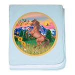 ORN-MtCountry-Horse-TAN-rear baby blanket