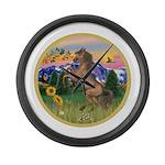 ORN-MtCountry-Horse-TAN-rear Large Wall Clock