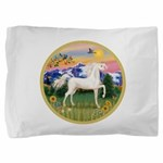 Mountain Country - White Arabian Horse Pillow