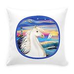 Rocks-SeaWhite Arabian Horse Everyday Pillow