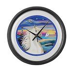 Rocks-SeaWhite Arabian Horse Large Wall Clock
