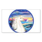 Rocks-SeaWhite Arabian Horse Sticker (Rectangl