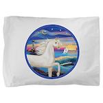 Rocks-Sea-White Arabian Horse Pillow Sham