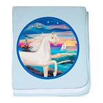 Rocks-Sea-White Arabian Horse baby blanket