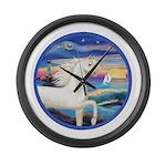 Rocks-Sea-White Arabian Horse Large Wall Clock