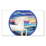 Rocks-Sea-White Arabian Horse Sticker (Rectang