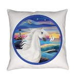Rocks-Sea-White Arabian Horse 2 Everyday Pillo